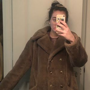 VINTAGE FAUX FUR COAT 1970s